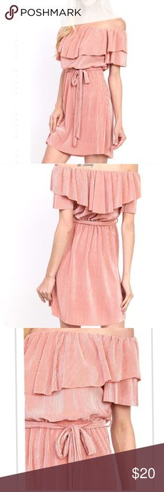 Blush Pink pleated dress w/waist tie New dress! Purchased on posh it's beautiful but just doesn't fit me right! **Lowest price is listed!** Dresses Strapless