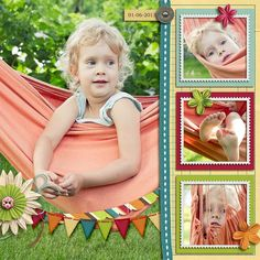 """Layout: In Hammock by ekasyr  Template: Big Photo Fun Templates   Reasons CTM Loves: """"The photos are amazing and evoke nostalgic feelings of childhood and summer. The kit chosen is perfect for the photos with its complimentary colors. The use of the banner element works well the with breezy, sway of the hammock. Precious!"""""""