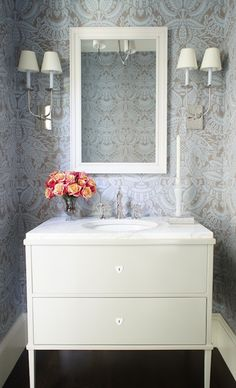 Christopher Burns Interiors - bathrooms - powder room wallpaper, wallpapered powder room, blue and taupe wallpaper, blue and taupe damask wa...