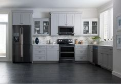 Kitchen: Darker stainless steel appliances via Samsung More