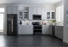 Kitchen: Darker stainless steel appliances via Samsung
