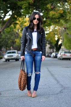 White t shirt, skinny distressed jeans, moto leather jacket a and nude flats