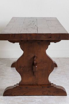 Antique French Oak Farm Table in the Monastery Trestle Style from Normandy | From a unique collection of antique and modern dining room tables at https://www.1stdibs.com/furniture/tables/dining-room-tables/