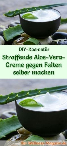 Aloe Vera Kosmetik selber machen - Rezept für selbst gemachte, straffende Aloe Vera Creme gegen Falten - spendet Feuchtigkeit, verringert Falten, verzögert die Hautalterung ... #diy #aloevera #selbermachen