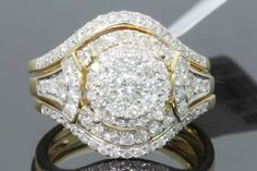 10K YELLOW GOLD 1.25 CARAT WOMENS REAL DIAMOND ENGAGEMENT RING WEDDING BAND SET #SolitairewithAccents #Engagement