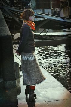 Eco and boho fashion felted tweed skirt from natural silk and wool (with fine fibers, cotton lace and hand embroidery ) OOAK - on order