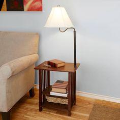Side End Table With Floor Lamp 3 Rack Shelves Living Room Furniture Dark Cherry #BetterHomesandGardens #Contemporary