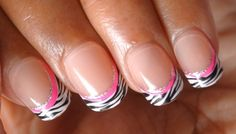 Zebra Print, Neon Pink And Glitter Nails