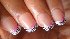 Zebra Print, Neon Pink And Glitter Nails
