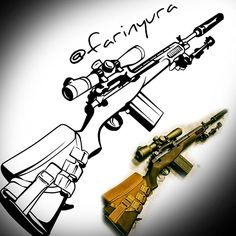 "35 Likes, 1 Comments - Farin Wahyu Rachman (@farinyura) on Instagram: ""Peace ~ weapon ~ war . . . #sketch #war #weapon #sniper #black #blackwhite #illustration #ilustrasi…"""