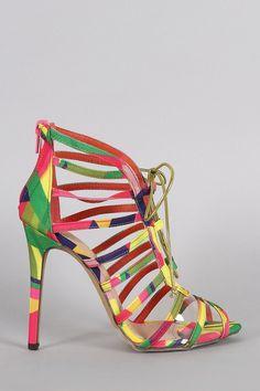 Liliana Multicolor Geometric Print Strappy Lucite Lace Up Heel