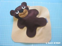 Felt Baby Bear softie toy in lovely swaddle blanket by ShillOPOP