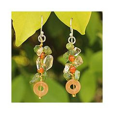@Overstock.com - Beautiful in their radiance, gemstones cluster in exquisite earrings. Nareerat knots peridot and citrine on silken strands with orange quartz and carnelian, displaying the earrings on sterling silver wires.http://www.overstock.com/Worldstock-Fair-Trade/Sterling-Silver-New-Love-Multi-gemstone-Earrings-Thailand/7005211/product.html?CID=214117 $18.49