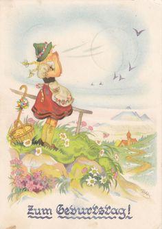 AK Charlotte Baron 1954 Mädchen in Tracht singt auf dem Berg in Sammeln & Seltenes, Ansichtskarten, Motive | eBay