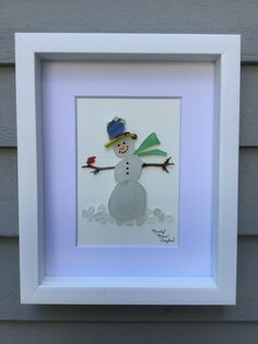 Snowman with Cardinal - Unique Gift - Sea Glass Art - Shadowbox - Home Gift - Coastal Decor - Nautical Wall Art - Winter Gift - Maine Art Sea Glass Crafts, Sea Crafts, Sea Glass Art, Seashell Crafts, Sea Glass Jewelry, Nautical Wall Art, Coastal Wall Art, Coastal Decor, Stone Crafts