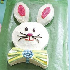 old school easter bunny cake. I remember my mom making this when I was little! May have to do this as a carrot cake!