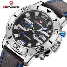 Unique style LONGBO brand watch men leather strap sport quartz watch with date big dial waterproof relogio masculino 2016