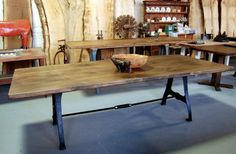 Lorimer Workshop Industrial Table with Turnbuckle wb: Forms, Materials, Colors, Iron Legs, Hardware Industrial Table, Industrial Design, Walnut Table, Repurposed Items, Table Legs, Fine Furniture, Diy Table, Dining Bench, Dining Room