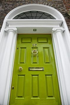 A lime green front door in Ireland