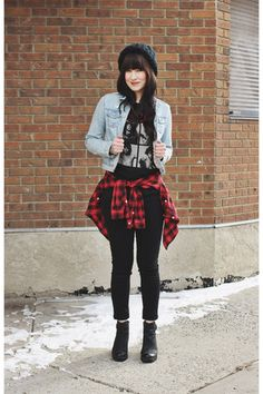 black chunky Hibou boots - black black jeans Just Usa jeans - plaid H&M shirt