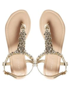 Image 3 Of New Look Fossil Gold Bling Flat Sandals Wedding