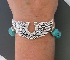 COWGIRL Bling BRACELET HORSESHOE Wings TURQUOISE Rhinestone Silver GYPSY WESTERN #Unbranded #BeadedStrand