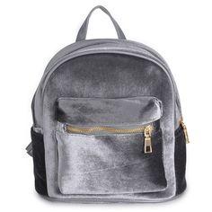 Urban Safari Velvet Design Mini Satchet Backpack ($25) ❤ liked on Polyvore featuring bags, backpacks, grey velvet, safari backpacks, zipper bag, grey backpack, mini backpack and urban rucksack