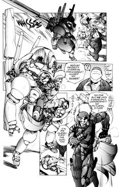Deunan exiting her Landmate exoskeleton in the original Appleseed manga series. ¡Me encanta! Comic Book Pages, Comic Page, Comic Book Artists, Comic Artist, Art Manga, Manga Artist, Manga Anime, Masamune Shirow, Black And White Comics