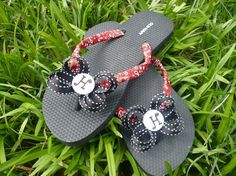 Monogrammed Red Twill Bandana Flip Flops by divinebows on Etsy,