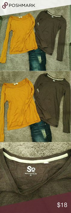 2 for $18 Cotton Long Sleeve T-Shirts EUC. Yellow is from Forever 21. Brown is So from Khols. Tops Tees - Long Sleeve