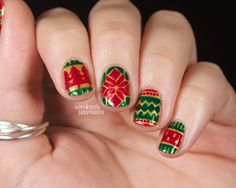 Wondrously Polished: The Digital Dozen does Red, Green & Gold - Day 1: Sweater Print...again www.wondrouslypolished.com