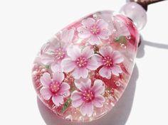 《桜》 ガラス とんぼ玉 ペンダント