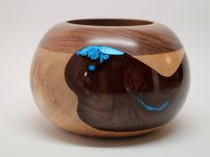 Unique Handcrafted Wooden Bowl made of Walnut, Maple Woods with a Dazzling Pearl Reddish Brown & Blue Resin Inlay - Collectible, Wedding