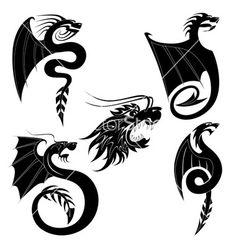 Black dragons tattoo by Genestro Black dragon tattoo set Dragon Henna, Black Dragon Tattoo, Dragon Tattoos, Dragon Tattoo Vector, Dragon Tattoo Designs, Full Tattoo, Tattoo Set, Vintage Tattoo Design, Cartoon Tattoos