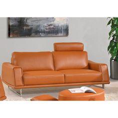 Luca Home Sofa Split Leather Orange (Sofa Split Leather Orange) (Faux  Leather)
