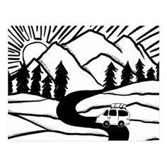 Colorful Campervan Mountains Vanlife RV Sunrise Postcard   dolomites hiking, hiking in scotland, hiking engagement #hikingct #hikingdogofinstagram #hikingfrenchie Diy Camping, Camping With Kids, Camping Gadgets, Camping Coffee, Camping Ideas, Camping Checklist, Camping Recipes, Tent Camping, Mountain Drawing