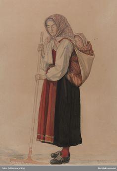 Kvinna med barn på ryggen. Akvarel av P. Södermark @ DigitaltMuseum.se Folk Costume, Costumes, Baby Wearing Wrap, Cultural Crafts, Baby Carrying, Medieval Clothing, Traditional Outfits, Art Reference, Folk Art