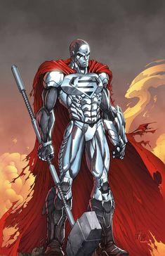 Steel (John Henry Irons) by Wesflo on DeviantArt DC comics Superhero Characters, Dc Comics Characters, Dc Comics Art, Comic Book Heroes, Comic Books Art, Marvel Dc, Steel Dc Comics, Superman Artwork, Batman Comic Art