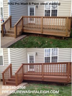 Semi-transparent cider mill stain applied to the deck by RDU Pro Wash & Paint in Raleigh NC