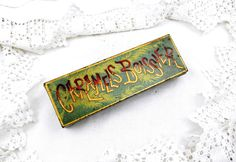 """Antique French Metal Tin for """"Caramels Boissier"""" Candy, French Vintage Decor,  Retro Gift, Rare French Tin, Cottage Chic, Chateau, Sweets by VintageDecorFrancais on Etsy"""