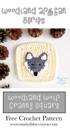 Woodland Wolf Granny Square | Woodland Afghan Series | Free Crochet Pattern
