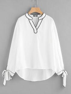 SheIn offers Tipping Detail Bow Tie Cuff Blouse & more to fit your fashionable needs. Hijab Fashion, Fashion Clothes, Korean Fashion, Girl Fashion, Fashion Dresses, Fashion Design, How To Wear Flannels, Woman Outfits, Blouse Online
