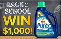 Enter daily through August 30th for a chance to win $1000 and a year supply of Purex with Dirt Lift Action Detergent