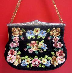 Vintage Needlepoint purse black floral by VintageWearTreasures, $25.00