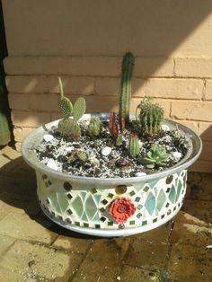 DIY succulent mosaic wheel rim planter