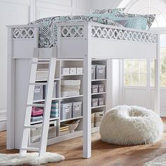 PB Teen Elsie Loft Bed, Full, Simply White ($1,499) ❤ liked on Polyvore featuring home, furniture, beds, cottage bed, cottage home furniture, pbteen, white bed and pbteen furniture