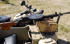 Photo wallpaper Ural, box, infantry, motorcycle, machine gun, manual, stroller, DP-27, Degtyareva