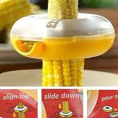 Easily get the kernels off your corn on the cob! Yum!