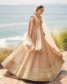Real Bride in stunning Sabyasachi Lehenga The Leena in a stunning lehenga for her wedding in Indian Bridal Outfits, Indian Bridal Fashion, Indian Bridal Wear, Indian Dresses, Bridal Dresses, Golden Bridal Lehenga, Wedding Lehnga, Pakistani Bridal, Indian Bridal