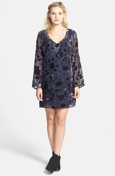 Free shipping and returns on WANT & NEED Burnout Velvet Shift Dress (Juniors) at Nordstrom.com
